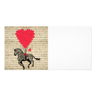 Funny vintage zebra & heart balloons photo card template
