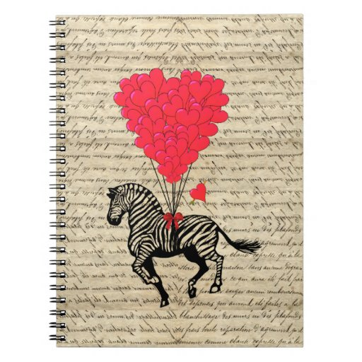 Funny vintage zebra & heart balloons spiral notebook