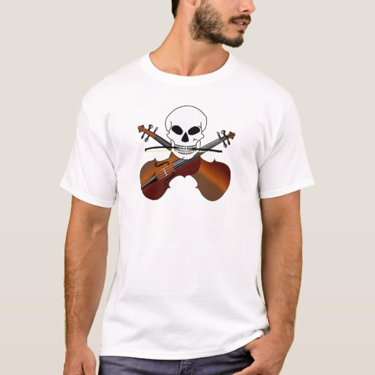 Funny Violin With Skull Music T-shirt