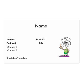 funny volleyball head cartoon character Double-Sided standard business cards (Pack of 100)