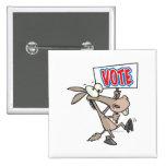funny vote democrat donkey cartoon button
