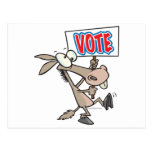 funny vote democrat donkey cartoon postcard