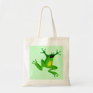 Funny Wacky Frenzied Jumping Frog on Green Budget Tote Bag