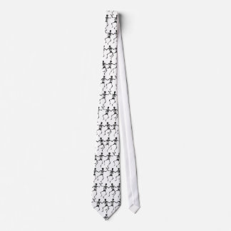 Funny Wacky Jumping Dancing Skeletons on White Neck Tie