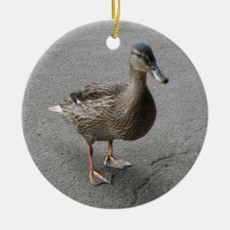 Funny Waddling Duck Custom Birthday Ceramic Ornament