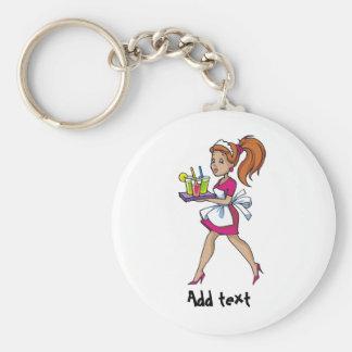 Funny waiter waitress cartoon personalized basic round button keychain
