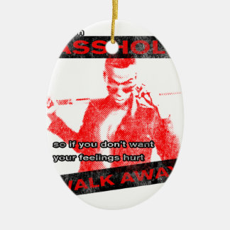 Funny Walk away Double-Sided Oval Ceramic Christmas Ornament