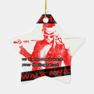 Funny Walk away Double-Sided Star Ceramic Christmas Ornament