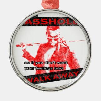 Funny Walk away Round Metal Christmas Ornament