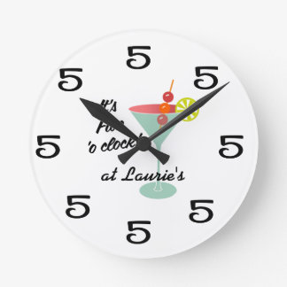 Funny Wall Clock - Martini 5 Five o'clock w/ name