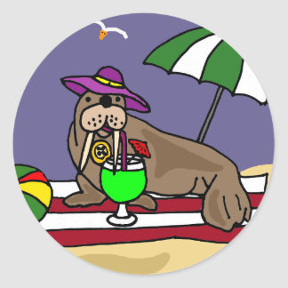 Funny Walrus at the Beach Art Classic Round Sticker