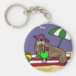 Funny Walrus at the Beach Art Keychain