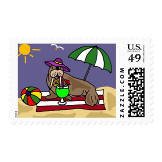 Funny Walrus at the Beach Cartoon Postage Stamps