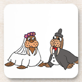 Funny Walrus Bride and Groom Wedding Coaster