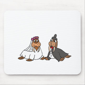 Funny Walrus Bride and Groom Wedding Mouse Pad