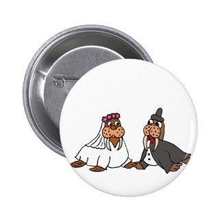 Funny Walrus Bride and Groom Wedding Pinback Button