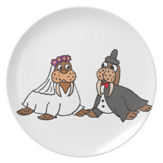 Funny Walrus Bride and Groom Wedding Plate
