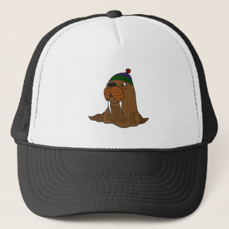 Funny Walrus in Knitted Cap