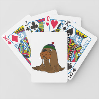 Funny Walrus in Knitted Cap Bicycle Playing Cards