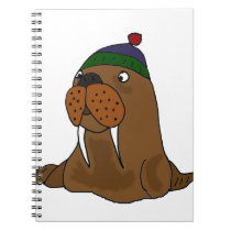 Funny Walrus in Knitted Cap Notebook