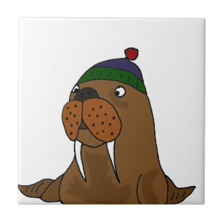 Funny Walrus in Knitted Cap Tile