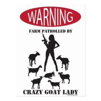 FUNNY Warning Farm Patrolled by Crazy Goat LAdy Postcard