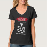 FUNNY Warning Farm Patrolled by Crazy Goat LAdy Tee Shirt