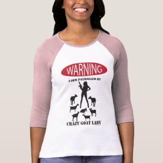 FUNNY Warning Farm Patrolled by Crazy Goat LAdy Tshirts