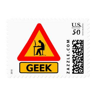 Funny Warning: Geek at Work Nerd Stamp