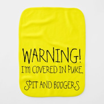 Toddler & Baby themed Funny Warning Neon Yellow Baby Burp Cloth Rag
