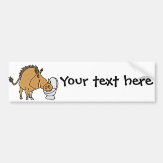 Funny Warthog Drinking from Toilet Bowl Bumper Sticker