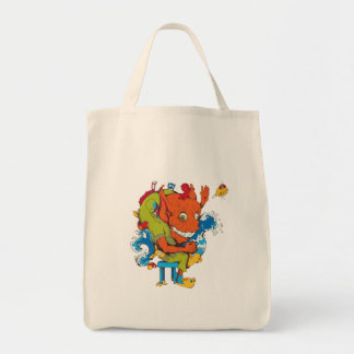 funny water monster vector cartoon character grocery tote bag