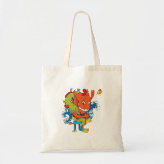 funny water monster vector cartoon character budget tote bag