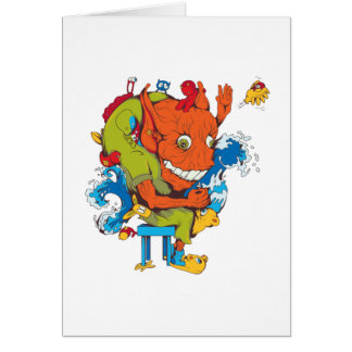 funny water monster vector cartoon character card