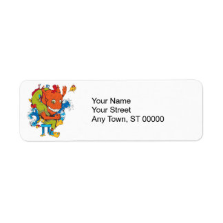 funny water monster vector cartoon character label