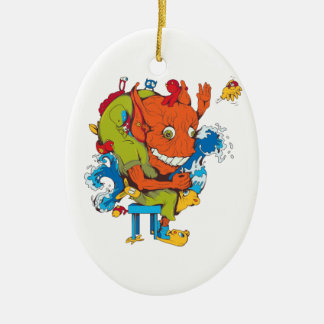 funny water monster vector cartoon character christmas ornaments