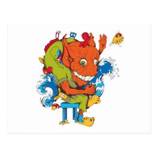 funny water monster vector cartoon character postcard