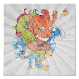 funny water monster vector cartoon character poster