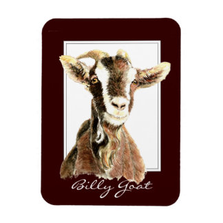 Funny Watercolor  Billy Goat Animal Magnet