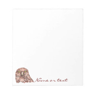 Funny Watercolor Burrowing Owl, Bird Humor Notepad