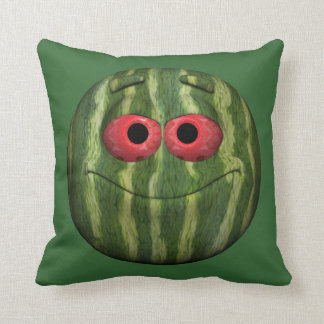 Funny Watermelon Emoticon Throw Pillow