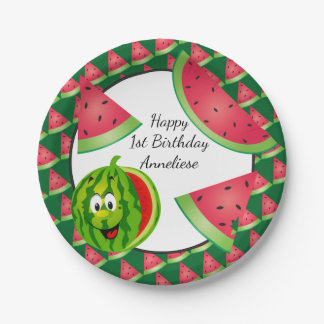 Funny Watermelon Kid's Birthday Theme Paper Plate