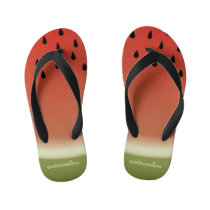 Funny Watermelon Slice Family Name Red Kid's Flip Flops