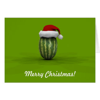Funny Watermelon With Santa Claus Hat Greeting Cards