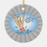 funny waterpolo dude cartoon christmas ornaments