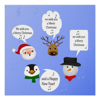 Funny We Wish You a Merry Christmas - Poster Print