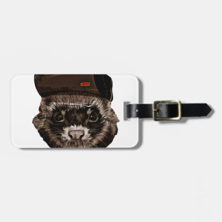 Funny Weasel with Hat Bag Tag