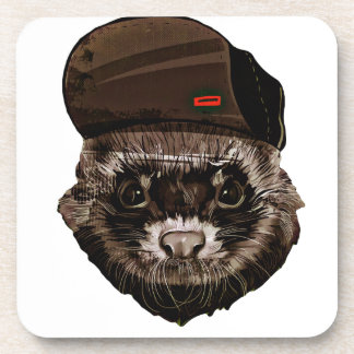 Funny Weasel with Hat Beverage Coaster