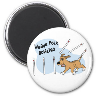 Funny Weave Poles Dog Agility 2 Inch Round Magnet