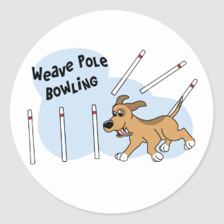 Funny Weave Poles Dog Agility Classic Round Sticker